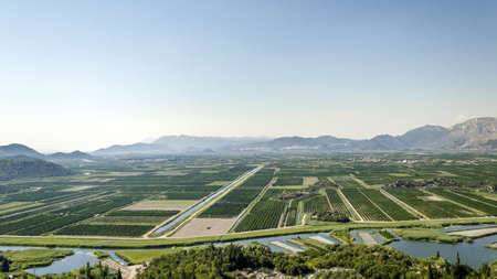 neretva: View over agricultural delta valley of river Neretva, Croatia, Europe