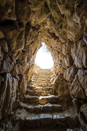 way out: Exit from Mycenaean water tank reminds of way out of underworld