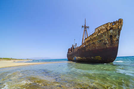 peloponnise: Dimitrios shipwreck at Selinitsa beach near Gytheio, Greece