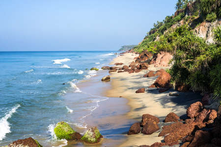 varkala: Peacefull tropical beach with cliffs in Varkala, Kerala, India.