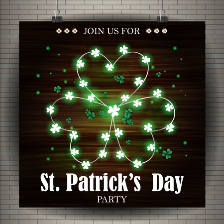 st patricks party: St. Patricks Day Poster. Bright green lights in the shape of a shamrock on a wooden background. Poster for the Irish party.