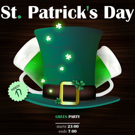 irish beer label: Background St. Patricks Day. Dark green leprechaun hat and two mugs of green Irish beer. Illustration