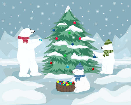 polar: christmas card polar bears