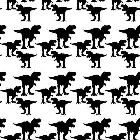 Rex Dinosaur, Tyrex silhouette of different sizes pattern black vector illustration