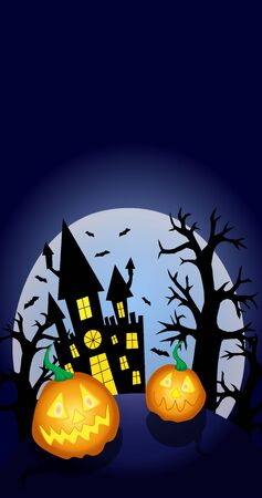Halloween background full moon, castle, pumpkins, night party vector illustration for invitations, banners and design