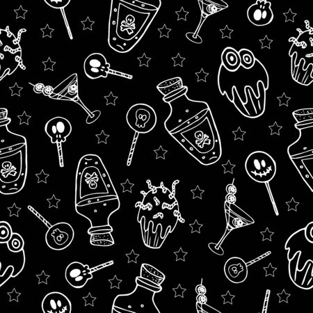 Halloween jugs, sweets and potions in white outline on a black background pattern vector illustration template for design and decoration