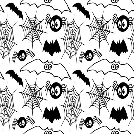 Halloween spiders and cobweb, bat, black line isolated pattern vector illustration for design and decoration