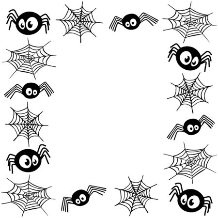 Funny black spiders with spider web frame on a white background vector illustration for design and decoration