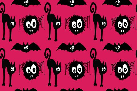 Halloween black cat and spider pattern vector illustration for design and decoration, image Standard-Bild - 130016327