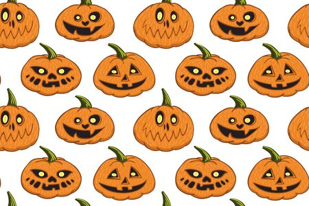Halloween funny pumpkins with yellow eyes isolated pattern vector illustration for design and decoration