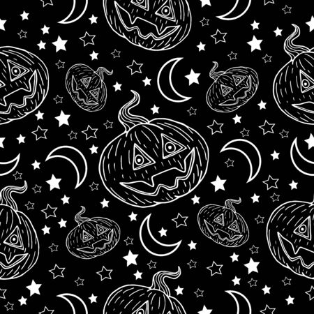 Halloween pumpkin with fangs, stars and month white line on a black background pattern  イラスト・ベクター素材