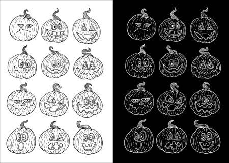 Pumpkin set vector illustration for design and decoration