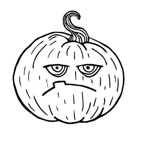 Moody sketch pumpkin, halloween black outline isolated, illustration for design and decoration vector