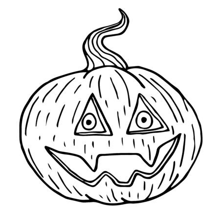 Pumpkin sketch, halloween black outline isolated on white background, vector illustration for design and decoration