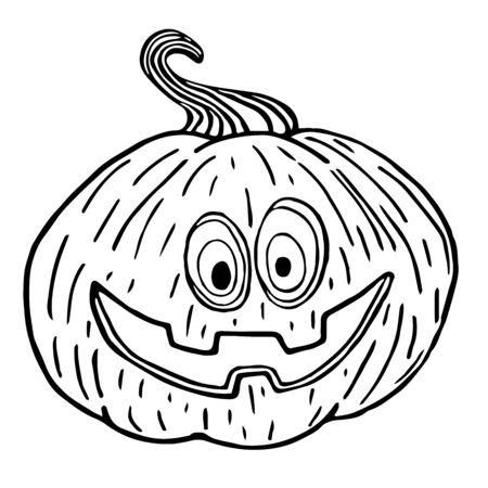 Halloween pumpkin sketch, smiling pumpkin black outline isolated, illustration for design and decora vector