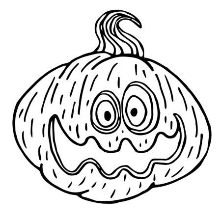 Halloween pumpkin sketch, black outline isolated, vector illustration for design and decora
