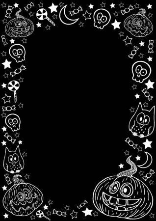 Vertical background for halloween. Black, illustration white. Funny pumpkin with bones, skull, stars, sweets, month and owl. Vector image for cards, invitations, and other design ideas.