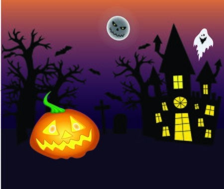 Halloween background with pumpkin, moon, trees silhouette, house, ghost, bats, with pumpkin vector illustration for decoration and design Foto de archivo - 130016612