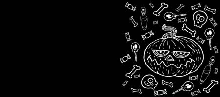 Halloween horizontal background black, white line, pumpkin with sweets, bones, potions, vector illustration for design and decoration