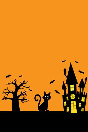 Halloween black cat, spooky castle, bats, on an orange background vector illustration for decoration and design Foto de archivo - 130016619