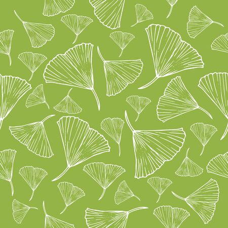 white line sketch leaves pattern on pale green background vector illustration for design and decoration
