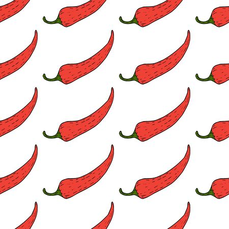 Red chili pepper pattern isolated on white background vector illustration for decoration and design