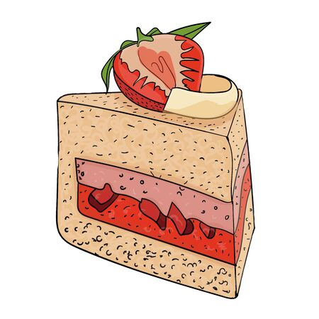 Cake with strawberry and jelly in color vector illustration for design and decoration