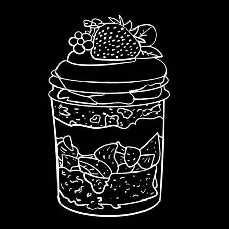 Dessert with strawberries in a jar of cream sketch on a black background vector illustration for design and decoration Illustration