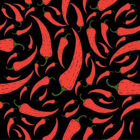 Red chili pepper pattern on black background vector illustration for design and decoration