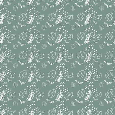 Pattern of gray color with eggs, birds, spring flowers vector illustration for design and decoration Ilustrace