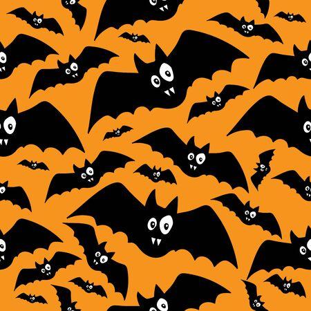 Black funny bats pattern on orange background in doodle style vector illustration for design and decoration, halloween