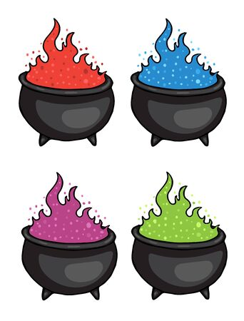 Cauldron potion witch set, green, purple, red, blue colors vector illustration for design and decoration, halloween, holidays