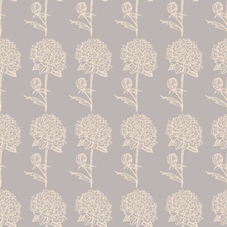 Peony sketch pattern with cream color liner on gray background vector illustration for design and decoration 版權商用圖片 - 133380953