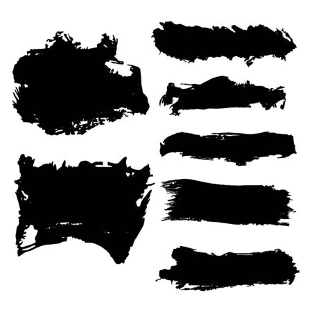 Black spots blots, brush strokes vector illustration for design and decoration Stockfoto - 133810747