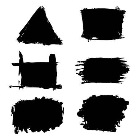 Paint stains backgrounds, triangle, square, black vector illustration for design and decoration Stock Illustratie