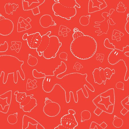 Pattern Christmas snowman, deer, tree, Christmas ball line white in doodle style on a red background vector illustration for design and decoration