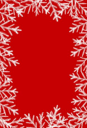 hristmas card vertical red with Christmas trees around white, with place for text vector illustration for design and decoration