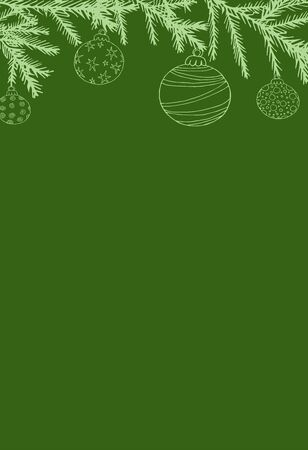 Christmas card with place for text, green background, with Christmas trees and Christmas balls vector illustration for design and decoration