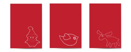 Christmas cards vertical set red background, with Santa, bird, deer in doodle style white line vector illustration for design and decoration