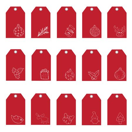 Christmas set of red postcards set, small vertical postcards with place for text vector illustration for design and decoration Stock Illustratie