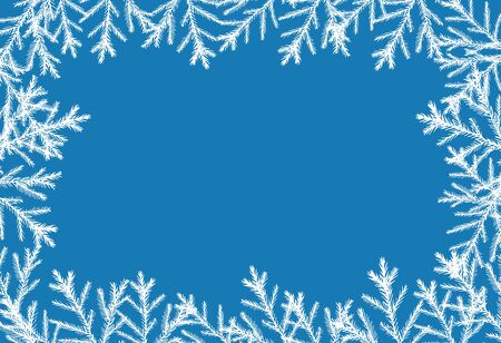 Horizontal blue christmas background with white christmas trees vector illustration for design and decoration