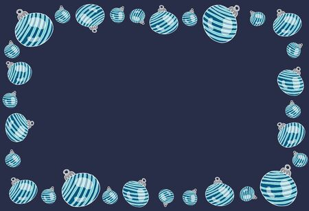 Christmas background greeting card with place for text, blue with Christmas balls in doodle style vector stock illustration for design and decoration, for decal and interior decoration elements  Stock Illustratie