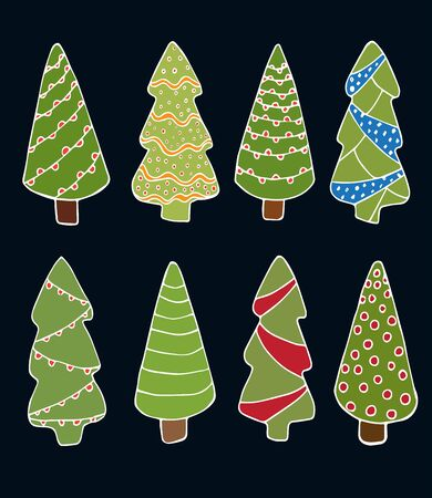 Christmas trees set in doodle style isolated vector stock illustration for design and decoration, for decal and interior decoration elements of winter decor