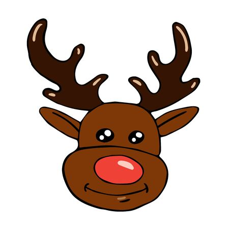 Doodle style christmas deer head isolated on white background vector stock illustration for design and decoration, for decal and interior decoration elements of winter decor