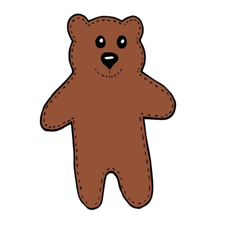 Funny brown bear in doodle style isolated on white background vector stock illustration for design and decoration, for decal and interior decoration elements of winter decor