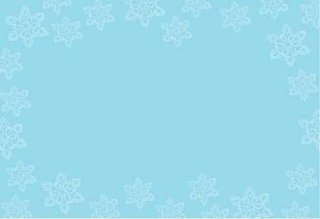 Gentle Christmas background greeting card with place for text with snowflakes, white on blue horizontal vector stock illustration for design and decoration, for decal and interior decoration elements Stock Illustratie