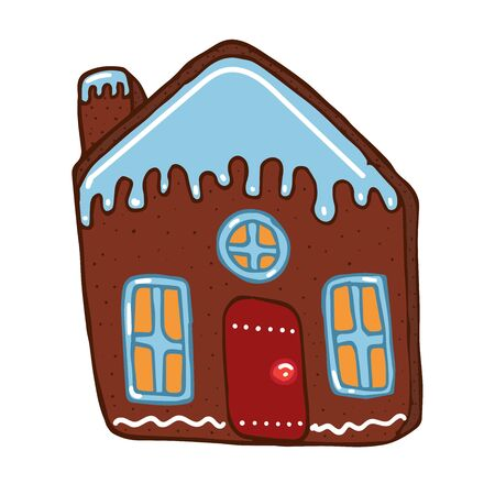 Gingerbread house with red door and snow on top in doodle style vector stock illustration for design and decoration, for decal and interior decoration elements of winter decor