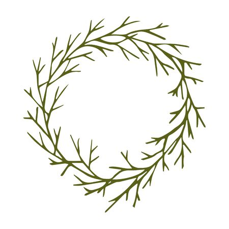 Green decorative wreath of twigs vector stock illustration for design and decoration, for decal and interior decoration elements of winter decor