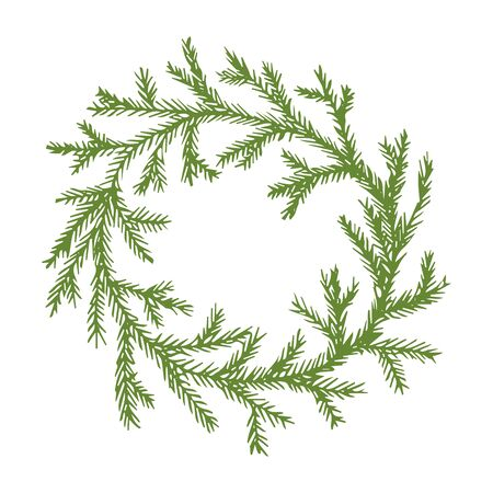 Green spruce wreath, Christmas wreath vector stock illustration for design and decoration, for decal and interior decoration elements of winter decor