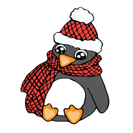 Penguin with red hat and checked scarf in doodle style isolated on white background vector stock illustration for design and decoration, for decal and interior decoration elements of winter decor